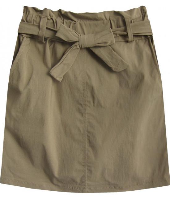 Dámska sukňa mini s vreckami MODA387 béžová