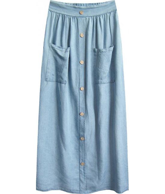 Dámska sukňa s gombíkmi MODA388 svetlomodrá