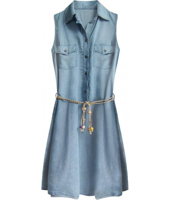 Dámske jeansové šaty s opaskom MODA400 svetlomodré