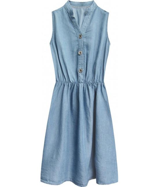 Dámske jeansové šaty s gombíkmi MODA404 svetlomodré