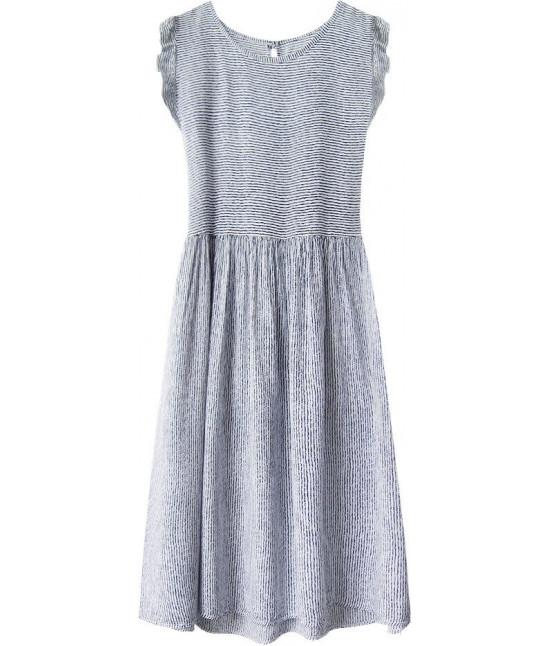 Dámske šaty s viazaním MODA406 bielo-modré