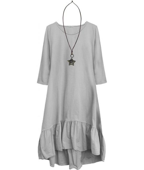 Dámske bavlnené šaty oversize MODA403 šedé