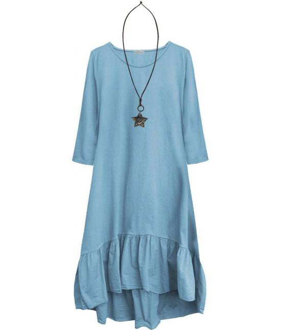 Dámske bavlnené šaty oversize MODA403 svetlomodré