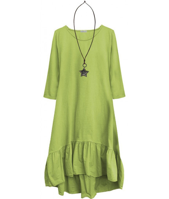 Dámske bavlnené šaty oversize MODA403 limetkové