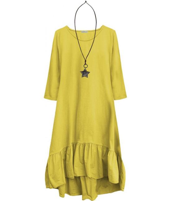 Dámske bavlnené šaty oversize MODA403 žlté
