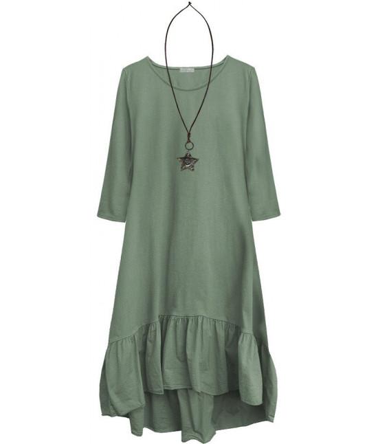 Dámske bavlnené šaty oversize MODA403 šedozelené
