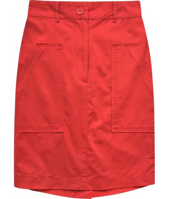 Dámska sukňa s vysokým pásom MODA222 korálová