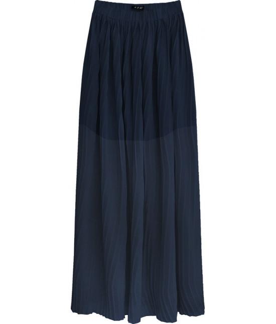 Plisovaná maxi sukňa MODA237 tmavomodrá veľkosť S