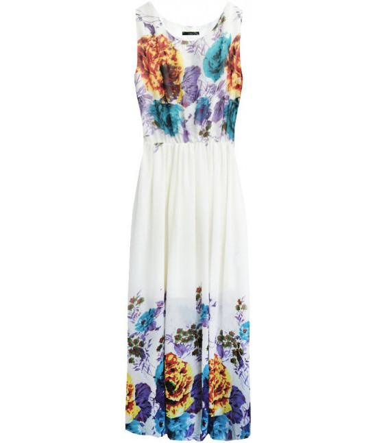 Dámske šifónové šaty s kvetmi MODA821 ecru