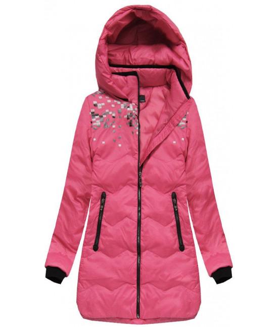 Dámska zimná bunda s kapucňou MODA005 ružová