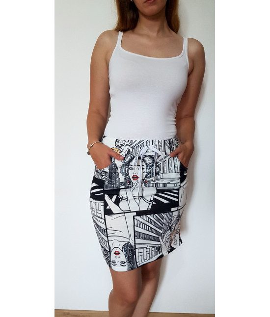 Dámska letná komiksová sukňa MODA789 biela
