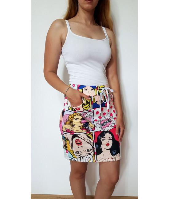 Dámska letná komiksová sukňa MODA789 rúžová