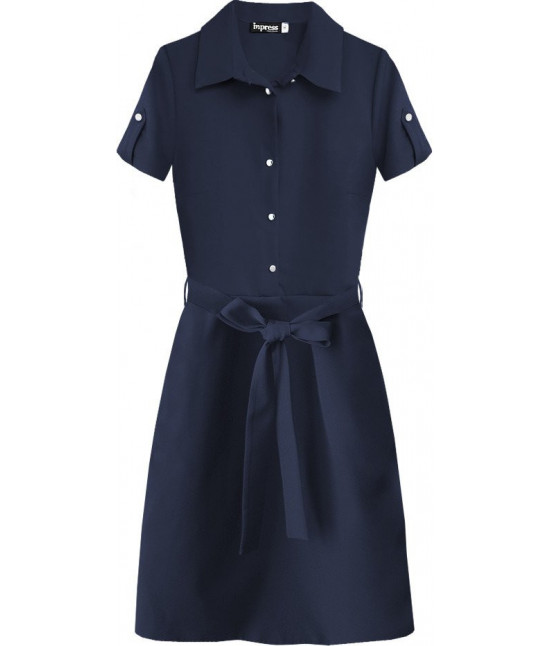 Dámske šaty s golierom MODA431 tmavomodré