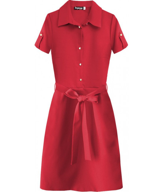 Dámske šaty s golierom MODA431 červené