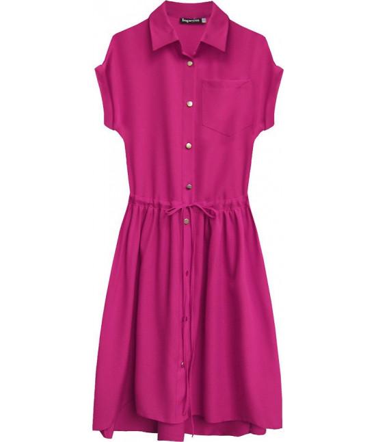 Dámske košeľové šaty MODA339 cyklamenové veľkosť L