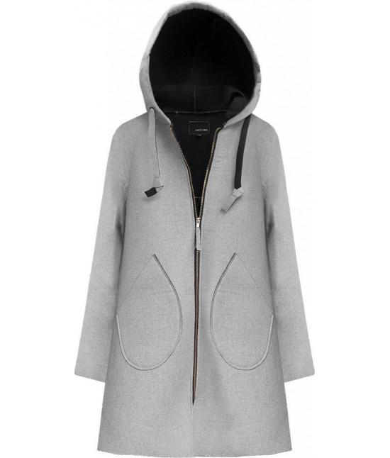 Neoprénový dámsky kabát MODA015 šedý