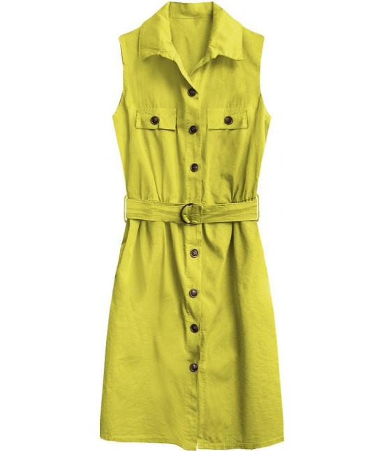Dámske košeľové šaty MODA397 citronové UNI