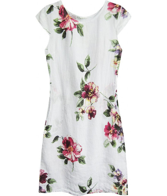 Dámske ľanové šaty  MODA364/2 biele veľkosť UNI