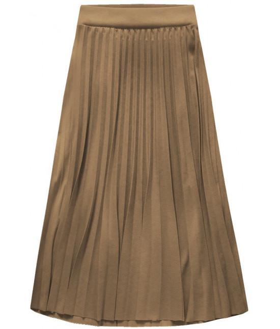 Dámska plisovaná sukňa midi MODA140 kapučíno UNI