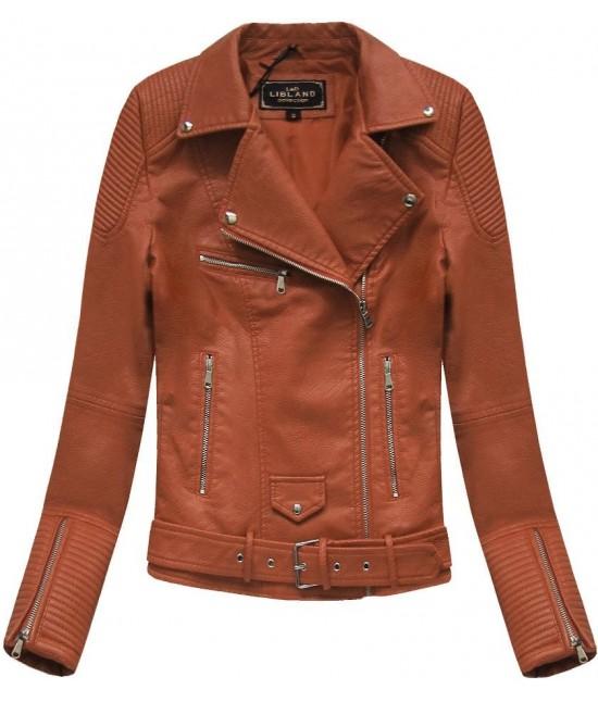 Dámska koženková bunda MODA377 hnedá veľkosť M