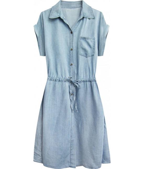 Dámske jeansové šaty MODA354 modré veľkosť UNI