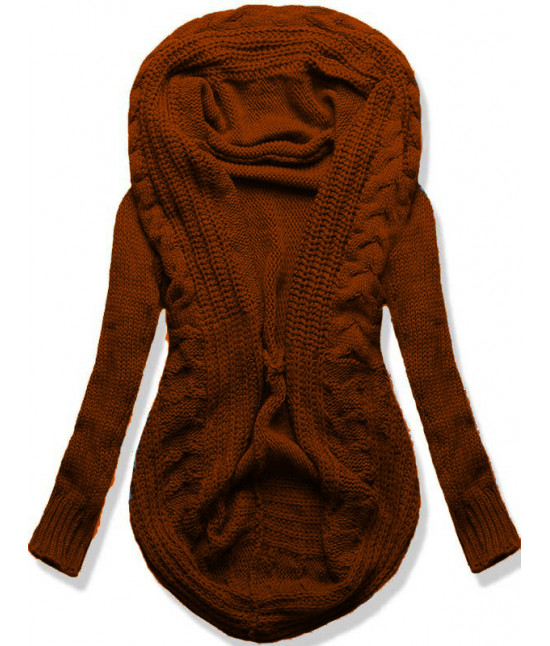 Dámsky sveter kardigan MODA03 hnedý