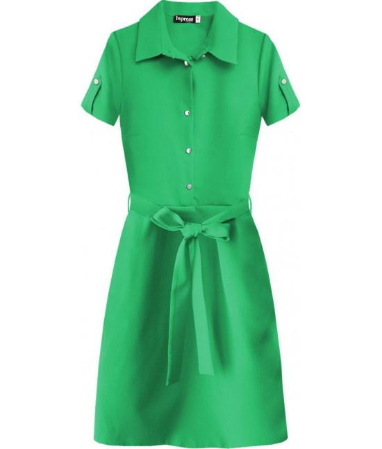 Dámske šaty s golierom MODA437 zelené