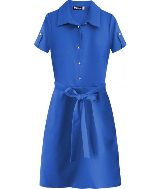 Dámske šaty s golierom MODA437 modré