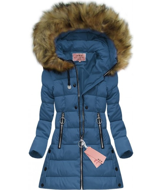 Dámska zimná bunda W607 modrá - Dámske oblečenie  e25e466b99f