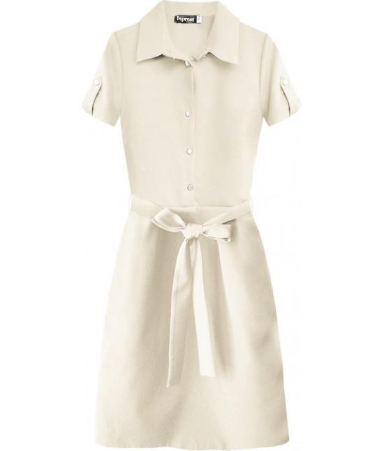 Dámske šaty s golierom MODA431 béžové
