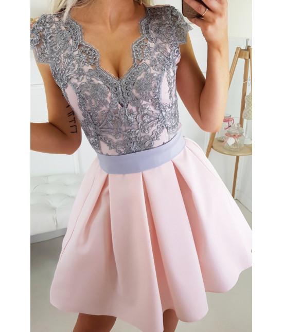 Dámske spoločenské šaty MODA139 ružovo-šedé veľkosť 34