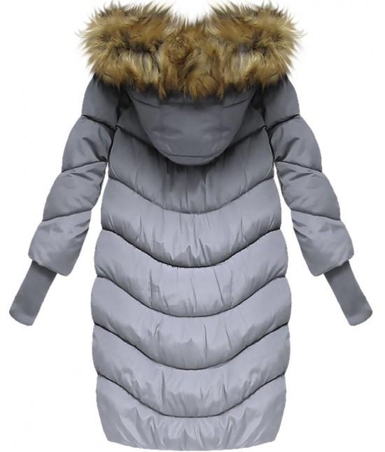 cb9273459ee3 Dámska zimná bunda s 3 4 rukávmi W702 šedo-fialová - Dámske ...