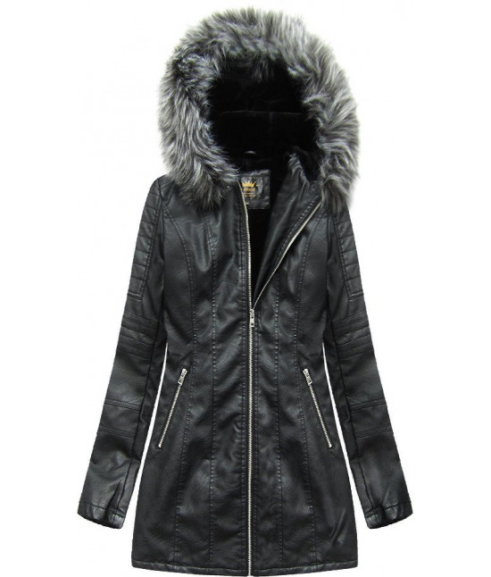Dámska koženková zimná bunda MODA525 čierna