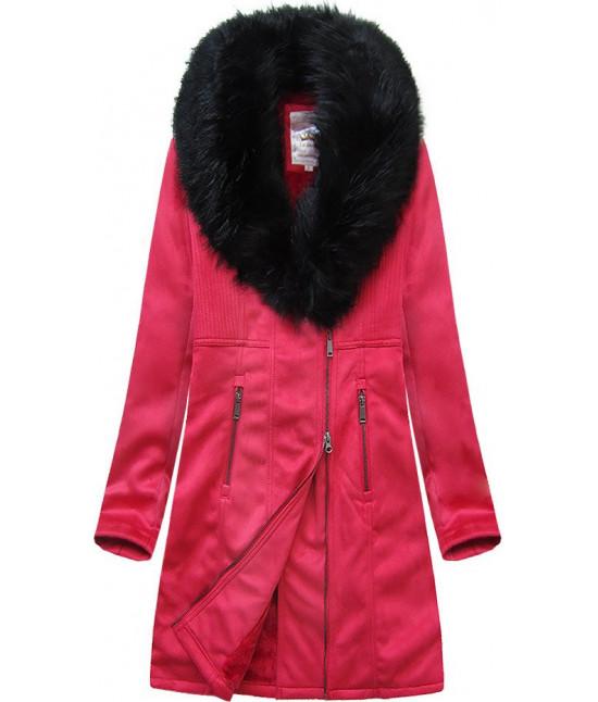 Dámsky zamatový kabát MODA517 červený