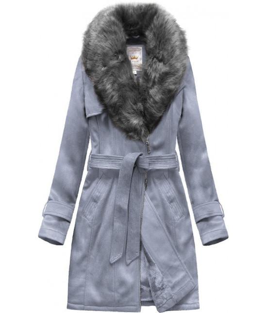 Dámsky zamatový kabát MODA515 šedo-fialový