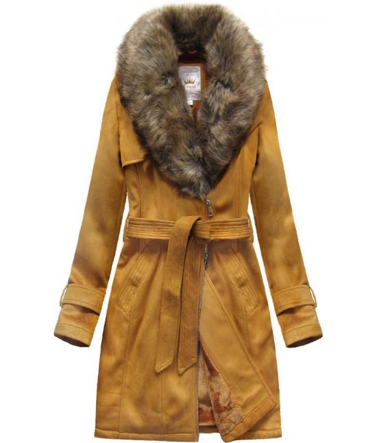 Dámsky zamatový kabát MODA515 horčicový