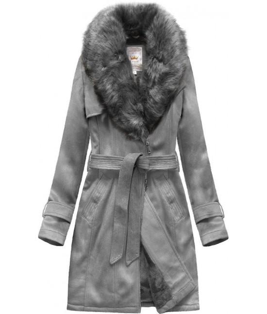 Dámsky zamatový kabát MODA515 šedý