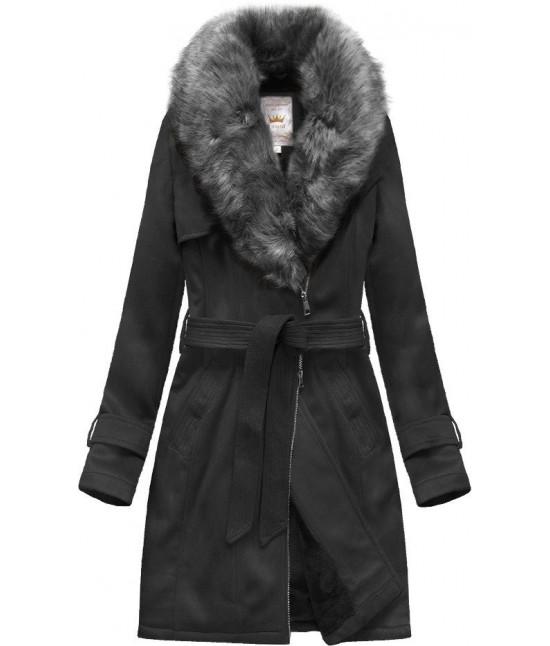 Dámsky zamatový kabát MODA515 čierny