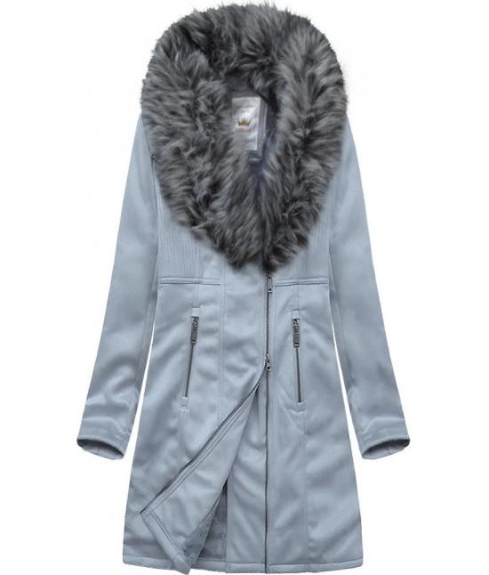 Dámsky zamatový kabát MODA517 šedofialová