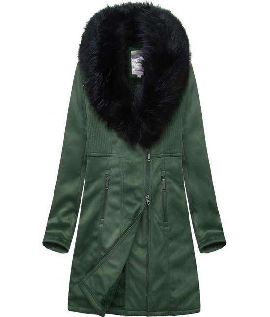 Dámsky zamatový kabát MODA517 zelený