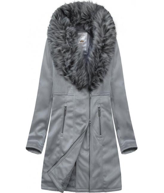 Dámsky zamatový kabát MODA517 šedý