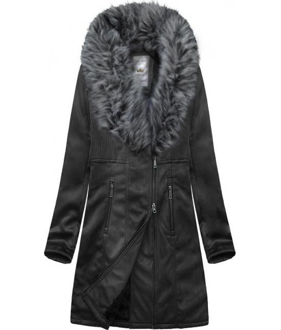Dámsky zamatový kabát MODA517 čierny