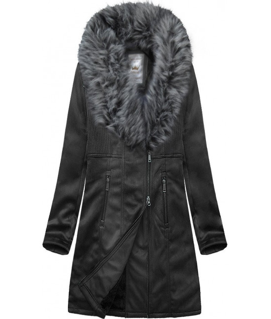 Dámsky zamatový kabát 517BIG čierny