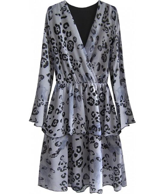 Dámske šaty z prekladaným dekoltom MODA454/1 šedé