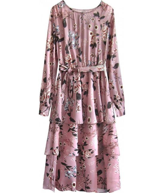 Dámske kvetované maxi šaty MODA449 ružové