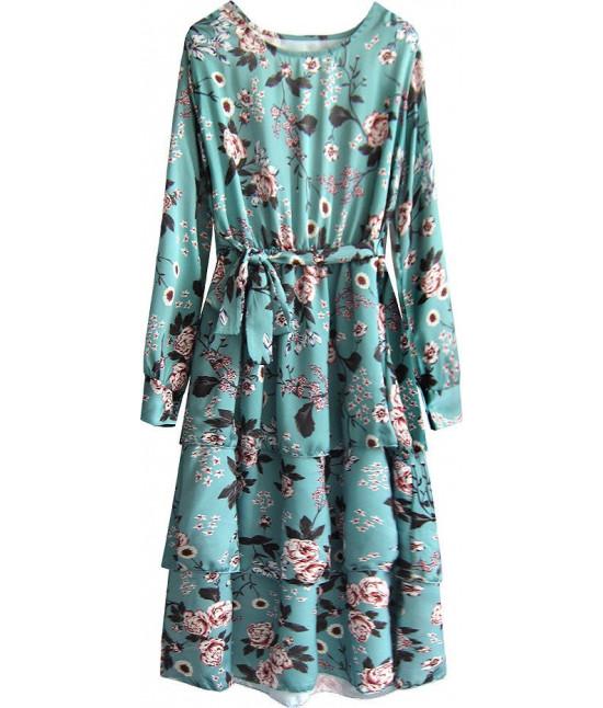 Dámske kvetované maxi šaty MODA449 morské