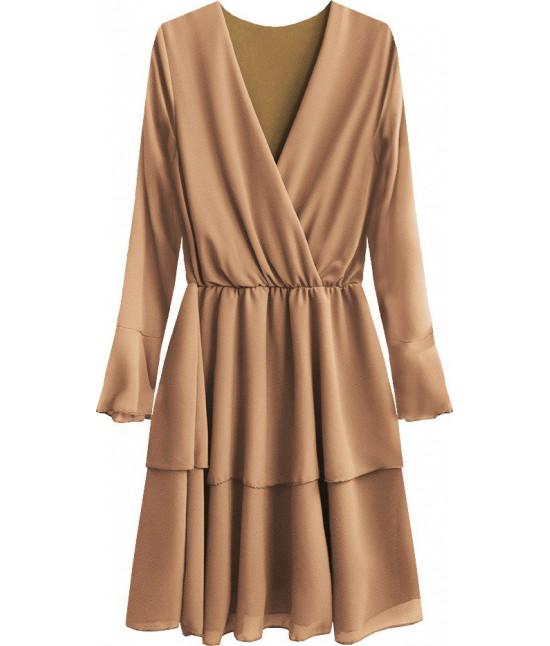 Dámske šaty s listovým dekoltom MODA450 karamelové