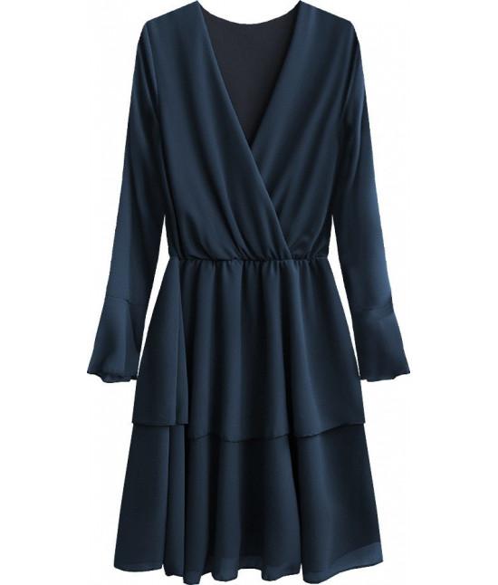 Dámske šaty s listovým dekoltom MODA450 tmavomodré
