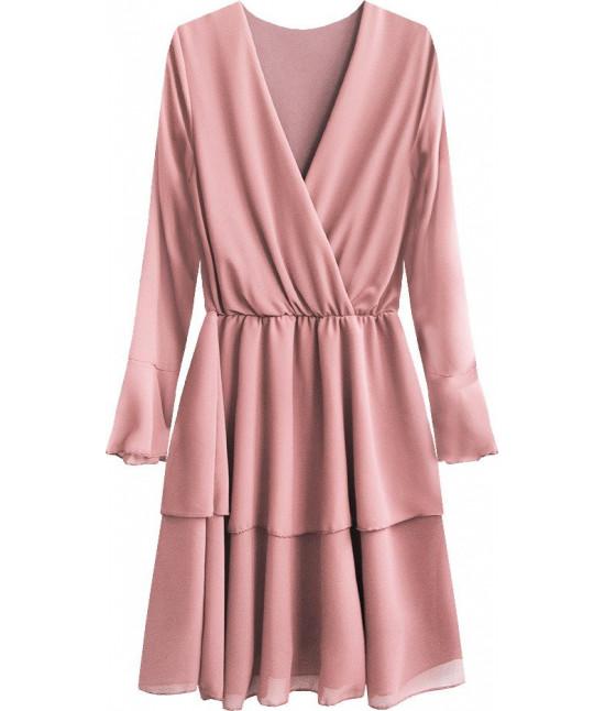 Dámske šaty s listovým dekoltom MODA450 pudrovoružové