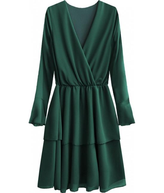 Dámske šaty s listovým dekoltom MODA450 zelené